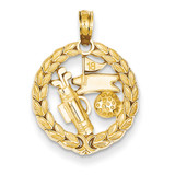 Golf Theme Pendant 14k Gold Solid Polished C2622