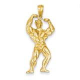 Weightlifter Pendant 14k Gold Solid Polished C2641