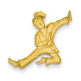 Diamond-cut Open-Backed Karate Female Charm 14k Gold Solid Satin C2646