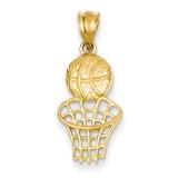 Basketball & Net Charm 14k Gold C2664