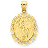 Polished Aries Zodiac Oval Pendant 14k Gold Solid Satin C2843