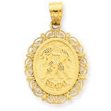 Polished Gemini Zodiac Oval Pendant 14k Gold Solid Satin C2845