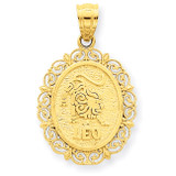 Polished Leo Zodiac Oval Pendant 14k Gold Solid Satin C2847