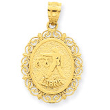 Polished Libra Zodiac Oval Pendant 14k Gold Solid Satin C2849