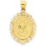 Polished Scorpio Zodiac Oval Pendant 14k Gold Solid Satin C2850