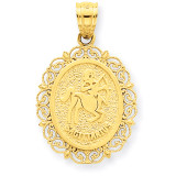 Polished Sagittarius Zodiac Oval Pendant 14k Gold Solid Satin C2851