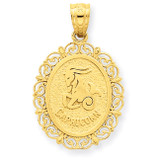 Polished Capricorn Zodiac Oval Pendant 14k Gold Solid Satin C2852