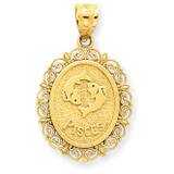 Polished Pisces Zodiac Oval Pendant 14k Gold Solid Satin C2854