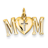 Mom with Cross Charm 14k Gold Polished C2856