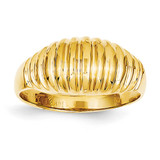 High Polished Ribbed Dome Ring 14k Gold C2871