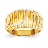High Polished Ribbed Dome Ring 14k Gold C2873