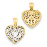 Reversible Filigree Heart Pendant 14k Two-Tone Gold C2928