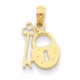 Padlock and Key Pendant 14k Gold C2937