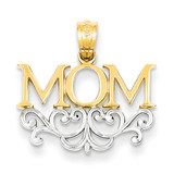 Mom Pendant 14K Gold & Rhodium C2981