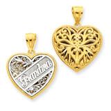 Reversible Grandma Heart Pendant 14k Two-Tone Gold C3000