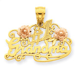 #1 Grandma with Roses Pendant 14k Yellow & Rose Gold C3004