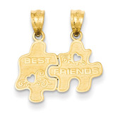 Best Friends Puzzle Pieces Break-apart Pendant 14k Gold C3026