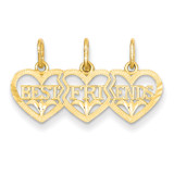Triple Heart Diamond-cut Best Friends Break-apart Pendant 14k Gold C3028