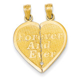 Reversible Forever and Ever Break-apart Heart Pendant 14k Gold C3029