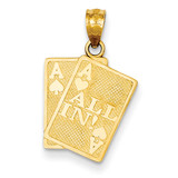 Ace of Hearts & Ace of Spade All In! Cards Pendant 14k Gold C3045