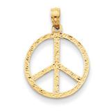 Peace Sign Pendant 14k Gold C3053
