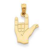 I Love You Hand Sign Language Pendant 14k Gold C3055