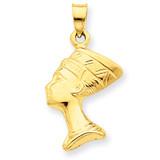 3-D Nefertiti Pendant 14k Gold C3068