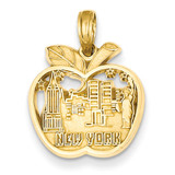 New York City Skyline in Apple Pendant 14k Gold C3076