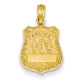 Police Badge Pendant 14k Gold C3099