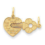 Heart & Key Break Apart Charm 14k Gold C310