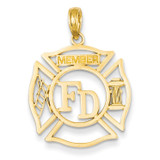 FD Member in Shield Pendant 14k Gold C3105