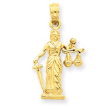 3-D Lady of Justice with Moveable Scales Pendant 14k Gold C3121