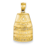 Southern Most Point USA Key West Pendant 14k Gold C3260