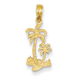 Double Palm Trees Pendant 14k Gold C3324