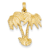 Double Palm Trees Pendant 14k Gold C3333