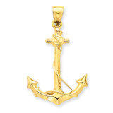 3-D Anchor with Rope Pendant 14k Gold C3342