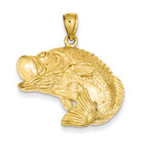 Bass Fish Jumping Pendant 14k Gold C3417