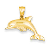 3-Dimensional Dolphin Pendant 14k Gold Polished C3426