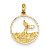 Whale Tail in Circle with Waves Pendant 14k Gold C3429