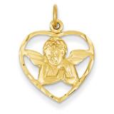 Angel in Heart Charm 14k Gold C343
