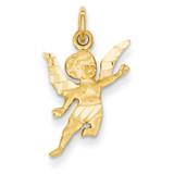 Angel Charm 14k Gold Diamond-cut C344