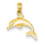 Dolphin Jumping Pendant 14k Gold C3446