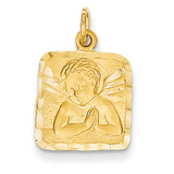 Satin & Diamond -cut Angel Charm 14k Gold C346