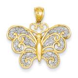 Rhodium Filigree Butterfly Pendant 14k Gold C3483