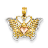 Yellow & Rose with Rhodium Butterfly with Heart Pendant 14k Gold C3486