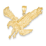 Textured Eagle Landing Pendant 14k Gold C3488