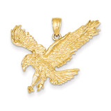 Textured Eagle Landing Pendant 14k Gold C3489