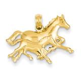 Double Horses Running Pendant 14k Gold C3497