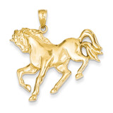 Horse Galloping Pendant 14k Gold C3499