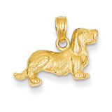 Long-Haired Dachshund Dog Pendant 14k Gold C3514